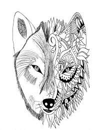 Wolf Coloring Pages For Adults Page Tattoo Krissy Photo Ideas
