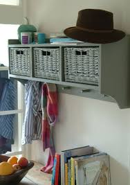Wall Coat Rack With Baskets Grey wooden hallway shelf wicker baskets and five coat hooks Great 18