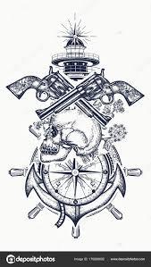 череп и пушек якорь рулевое колесо компас маяк векторное