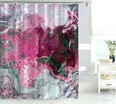hot pink shower curtain contemporary waterproof fabric abstract art bathroom decor