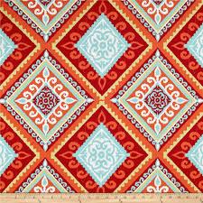 Spanish Fabric Designs Terrasol Outdoor Spanish Tile Red Orange