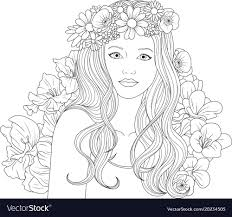 beautiful girl coloring pages. Contemporary Girl Beautiful Girl Coloring Pages Vector Image Intended Girl Coloring Pages VectorStock