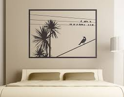 cabbage  on decal wall art nz with cabbage tree with tui window your decal shop nz designer wall