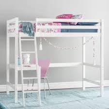 girls white bunk beds. Brilliant Beds Customizable Wood Twin Bunk Bed With Study Loft For Girls White Beds O