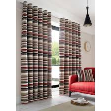 richmond striped heavy weight chenille lined ready made eyelet ring top curtains