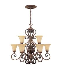 designers fountain montreaux 9 light chandelier in burnished walnut w gold 81589 bwg photo