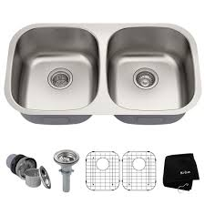 Kraus Premier Undermount Stainless Steel 32 In 5050 Double Bowl