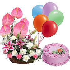 birthday cake and balloons and gifts. Exellent And 12 Kg Strawberry Cake6 Balloons24 Pink Anthuriums Carnation Basket Intended Birthday Cake And Balloons Gifts H