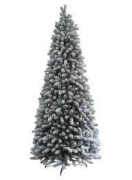 9 Foot King Flock Slim Artificial Christmas Tree with 700 Warm White LED lights Unlit | Of