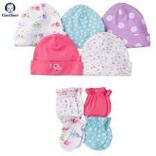 ĐỒ SƠ SINH MỚI VỀ TẠI FIBOBABY SHOP : (Gerber) Set 5 nón thun và 4 đôi bao  tay sơ sinh 0-3 tháng thun cotton mỏng mềm (chim non)