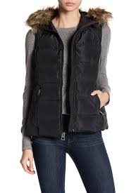 image of lucky brand faux fur accent hooded puff vest