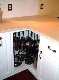 kitchen corner storage install hooks to pots in a cabinet corner kitchen corner pantry storage