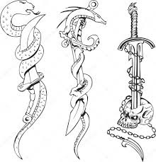 татуировки пиратов эскизы тату эскизы со змеями кинжалы и череп
