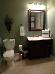 Basement Design, Tropical Basement Bathroom Ideas With Green Wall Paint  Color Also White Mod Toilet