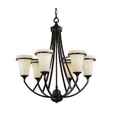 6 light antique bronze chandelier