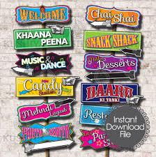 Kushiya Designs Bollywood Party Direction Signs Set Of 12 Bollywood