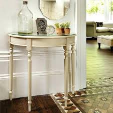 half circle entry table surprising moon with mirror shaped tables hall foyer cappuccino finish