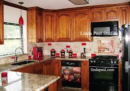 red tile backsplash kitchen mural with granite and wooden cabinet idea in residential blue glass red tile backsplash textured glass