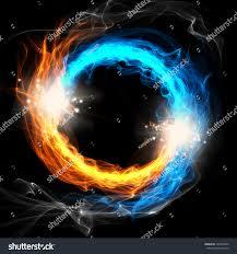 Fire Ice Round Sign On Black Stock Illustration 146572832 ...