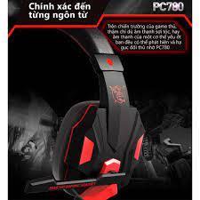 Tai nghe máy tính có mic Plextone PC780, tai nghe PC Gaming thiết kế chụp  tai có dây bọc dù chống rối dài 2.2m.
