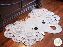 crochet pattern pdf for making a beautiful elephant animal rug or nursery mat with big lace