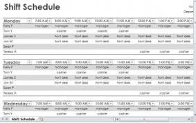 Employee Shift Employee Shift Schedule Employee Shift Schedule Template