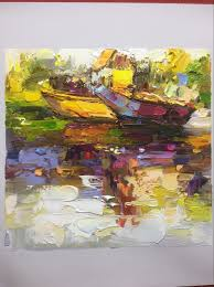 i have paint a palette knife landscape oil painting today use bright color take around 3 hours size is 8x8 inches it is very small on canvas o