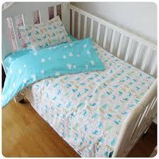 3 pcs cotton crib bed linen kit cartoon baby bedding set includes pillowcase bed sheet duvet