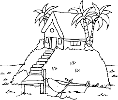 Small Picture House on Island Coloring Pages Print Coloring pages