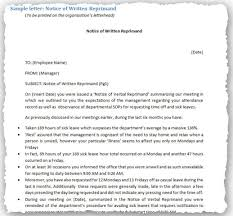 Written Verbal Warning Sample Sample Written Warning Letters Including Employee Policies
