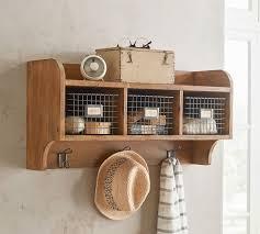 wade wooden wall shelf with hooks