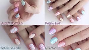 Summer nail art designs tutorial: polka dot pastels - YouTube