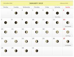 Moon Chart Calendar 2019 January 2019 Moon Phase Schedule Calendar Printable