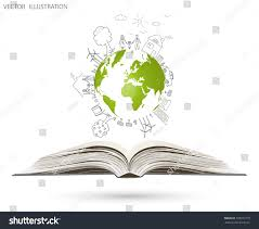 open book of happy family stories creative drawing map world global environmental concept vector