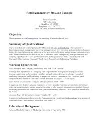resume objectives for managers retail management resume objective
