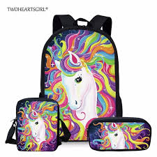 <b>Twoheartsgirl</b> Colorful Unicorn School <b>Bag</b> Set for Teenage Girls ...