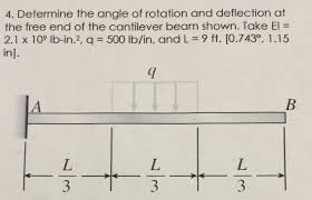 Determine the angle of rotation and deflection at the free end of the  cantilever beam shown. Take EI = 2.1 x 10^9 lb-in^2, q = 500 lb/in, and L =  9ft.