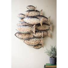 painted recycled metal school of fish wall decor zoom move your mouse over image or to enlarge