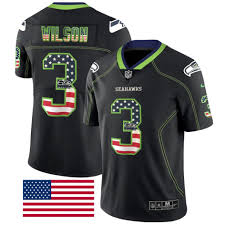 Russell Wilson 20 Seattle Seahawks Usa Flag Fashion Black Color Rush Limited Jersey