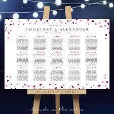 Hearts Confetti Seating Chart Editable Diy Template