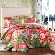 red fl quilt bedding red fl comforter vintage country style colorful fl print bedding set queen