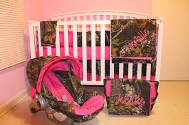 8pc camo mossy oak fabric pink crib bedding nursery set with