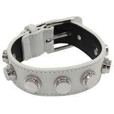 saint lau saint lau studded leather bracelet 314567 silver size free thrift good