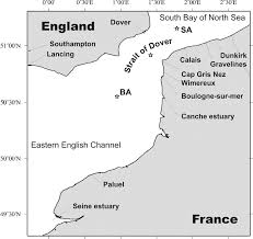 Dover Strait Chart Chart Of The Strait Of Dover And Location Of The Collected