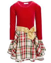 Toddler Girls Velvet Plaid Dress