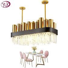 youlaike luxury modern crystal chandelier gold polished steel dining room lighting fixture rectangle ac110 240v