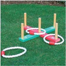 Wooden Hoop Game GARDEN OUTDOOR QUIOTS GAME PEGS ROPE HOOPLA FAMILY KIDS GAME 72
