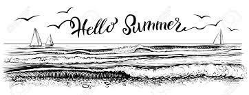 こんにちはレタリングの夏しますパノラマの海または海ビーチ ビューヨットと水波海辺のベクター