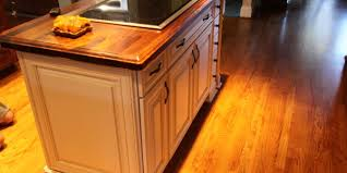 Butcher Block Island With Lighted Stone End Panel