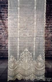 at auction now gorgeous antique victorian french net tambour lace curtain 87x35 bridal
